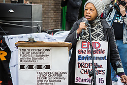 Chelmsford, UK. 6th February, 2019. Sara Callaway of Women of Colour in the Global Women's Strike addresses activists from around the UK gathered to show solidarity with the Stansted 15 before their sentencing at Chelmsford Crown Court. The Stansted 15 were convicted on 10th December of an anti-terrorism offence under the Aviation and Maritime Security Act 1990 following non-violent direct action to try to prevent a Home Office deportation flight carrying precarious migrants to Nigeria, Ghana and Sierra Leone from taking off from Stansted airport in March 2017.
