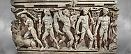 """Close up of a side of a Roman relief sculpted Hercules sarcophagus with kline couch lid, """"Columned Sarcophagi of Asia Minor"""" style typical of Sidamara, 250-260 AD, Konya Archaeological Museum, Turkey. .<br /> <br /> If you prefer to buy from our ALAMY STOCK LIBRARY page at https://www.alamy.com/portfolio/paul-williams-funkystock/greco-roman-sculptures.html . Type -    Konya     - into LOWER SEARCH WITHIN GALLERY box - Refine search by adding a subject, place, background colour, museum etc.<br /> <br /> Visit our ROMAN WORLD PHOTO COLLECTIONS for more photos to download or buy as wall art prints https://funkystock.photoshelter.com/gallery-collection/The-Romans-Art-Artefacts-Antiquities-Historic-Sites-Pictures-Images/C0000r2uLJJo9_s0"""