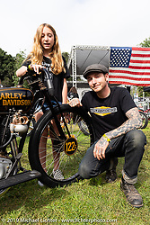 Invited builder from Built The Traditional Way, Justin Wall with his daughter and his 1929 custom Harley-Davidson JDH at the Born-Free Vintage Motorcycle show at Oak Canyon Ranch, Silverado, CA, USA. Sunday, June 23, 2019. Photography ©2019 Michael Lichter.