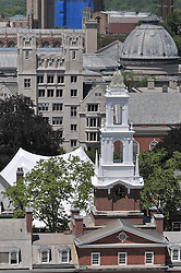 Timothy Dwight Steeple foreground, Silliman College and Woolsey Dome in background. Alumni Reunion Weekend. Tent in Courtyard | Yale University New Haven CT. As seen from the roof of New Haven County Courthouse on Church Street.