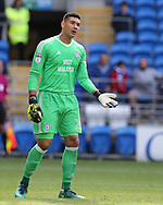 Neil Etheridge, the Cardiff city goalkeeper looks on.  EFL Skybet championship match, Cardiff city v Sheffield Wednesday at the Cardiff City Stadium in Cardiff, South Wales on Saturday 16th September 2017.<br /> pic by Andrew Orchard, Andrew Orchard sports photography.