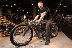 """Dima Golubchikov who works by himself at his Ziller's Garage in Moscow, Russia was the first place winner of the AMD Wolrd Championship of Custom Bike Building for his """"Insomnia"""" custom Yamaha sr400 during the Intermot International Motorcycle Fair. Cologne, Germany. Friday October 5, 2018. Photography ©2018 Michael Lichter."""