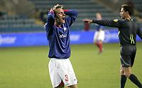 Fotball<br /> UEFA cup<br /> 1. runde<br /> 04.10.07<br /> Ullevaal stadion<br /> Vålerenga VIF - Austria Wien<br /> Allan Jepsen roper ut i frustrasjon etter å ha bommet en sjanse<br /> Foto - Kasper Wikestad