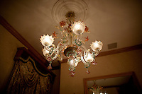 19th century Venetian glass chandelier in the bridal suite at Tavern on the Green. .(Photo by Robert Caplin)..