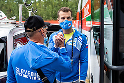 Marko Polanc and Andrej Hauptman, head coach of Slovenia during Men Elite Road Race at UCI Road World Championship 2020, on September 27, 2020 in Imola, Italy. Photo by Vid Ponikvar / Sportida