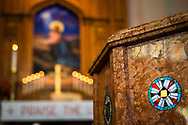 The baptismal font and altar at Gethsemane Lutheran Church on Tuesday, July 28, 2020, in St. Louis.  LCMS Communications/Erik M. Lunsford