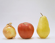 fruit and vegetable still life with onion apple and pear