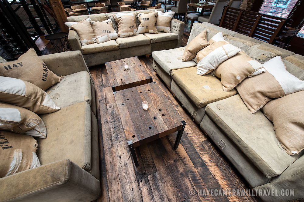 A rustic lounge setting in a restaurant.