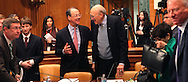 Chairmen Erskine Bowles and Alan Simpson congratulate eachother after the final  meeting on the National  Commission  on Fiscal Responsibility and Reform. Photograph by Dennis Brack