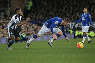 James McCarthy (Everton) is fouled just outside the Newcastle penalty box during the Barclays Premier League match between Everton and Newcastle United at Goodison Park, Liverpool, England on 3 February 2016. Photo by Mark P Doherty.