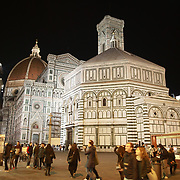 FLORENCE, ITALY - NOVEMBER 01: A night time view of Florence's Cathedral, Basilica di Santa Maria del Fiore, known as Duomo in Florence, Italy. The Duomo is the main church of the city of Florence. Construction was started in 1296 in the Gothic style with the structure completed in 1436. The famous dome was designed by Arnolfo di Cambio and engineered by Filippo Brunelleschi. Florence, Italy, 1st November 2017. Photo by Tim Clayton/Corbis via Getty Images)