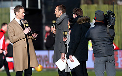 """BBC Sport pundit Dan Walker (left) during the FA Cup, third round match at Highbury Stadium, Fleetwood PRESS ASSOCIATION Photo. Picture date: Saturday January 6, 2018. See PA story SOCCER Fleetwood. Photo credit should read: Dave Thompson/PA Wire. RESTRICTIONS: EDITORIAL USE ONLY No use with unauthorised audio, video, data, fixture lists, club/league logos or """"live"""" services. Online in-match use limited to 75 images, no video emulation. No use in betting, games or single club/league/player publications"""