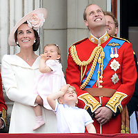 The Duke and Duchess of Cambridge, Prince George and Princess Charlotte attend The Trooping The Colour at Buckingham Palace, London, UK, on the 11th June 2016.<br /> <br /> Picture by James Whatling