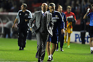 Crystal Palace manager Ian Holloway walks off after his sides 2nd round defeat.   Capital one cup match, 2nd round, Bristol city v Crystal Palace at Ashton Gate stadium in Bristol on Tuesday 27th August 2013. pic by Andrew Orchard , Andrew Orchard sports photography,