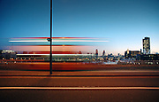 bus waterloo bridge london dawn