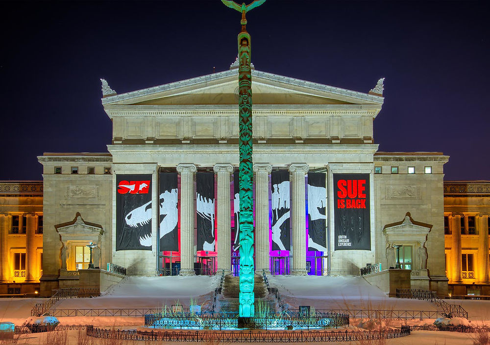 """The north elevation of the Field Museum on a very cold Feburary evening 2019. The new """"Sue"""" T-Rex exhibit is open to visitors. Exterior Architectural Photography. Buildings, locations, architecture. Chicago, Illinois, built landscape,"""