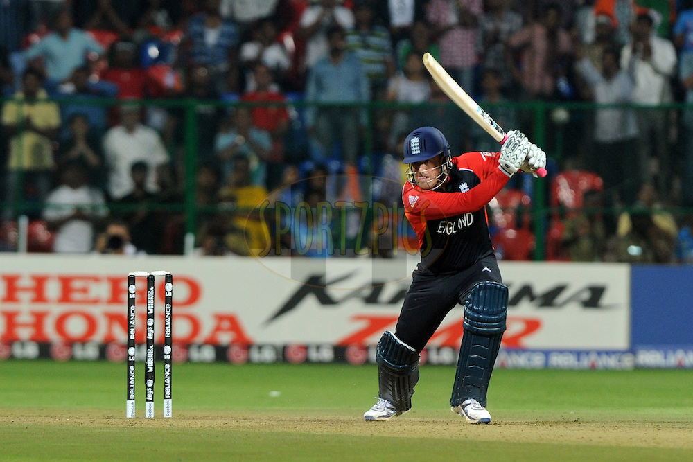 Graeme Swann of England bats during the ICC Cricket World Cup match between India and England held at the M Chinnaswamy Stadium in Bengaluru, Bangalore, Karnataka, India on the 27th February 2011..Photo by Pal Pillai/BCCI/SPORTZPICS