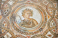 Roman mosaic depicting the Four Seasons (spring is destroyed). Late 3rd century AD, Thysdrus (El Jem). Roman mosaics from the north African Roman province of Africanus . Bardo Museum, Tunis, Tunisia. .<br /> <br /> If you prefer to buy from our ALAMY PHOTO LIBRARY  Collection visit : https://www.alamy.com/portfolio/paul-williams-funkystock/roman-mosaic.html - Type -   Bardo    - into the LOWER SEARCH WITHIN GALLERY box. Refine search by adding background colour, place, museum etc<br /> <br /> Visit our ROMAN MOSAIC PHOTO COLLECTIONS for more photos to download  as wall art prints https://funkystock.photoshelter.com/gallery-collection/Roman-Mosaics-Art-Pictures-Images/C0000LcfNel7FpLI