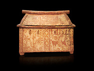 Minoan  pottery coffin chest with gabled lid and winged griffin decoration, Palaikastro 1370-1300 BC, Heraklion Archaeological  Museum, black background.<br /> <br /> The larnax chest is decorated the same on both sides with a winged griffin, horns of consecration and double axes, lilies growing from a rock, a large bird and a fish among astral symbols .<br /> <br /> If you prefer to buy from our ALAMY PHOTO LIBRARY  Collection visit : https://www.alamy.com/portfolio/paul-williams-funkystock/minoan-art-artefacts.html . Type -   Heraklion   - into the LOWER SEARCH WITHIN GALLERY box. Refine search by adding background colour, place, museum etc<br /> <br /> Visit our MINOAN ART PHOTO COLLECTIONS for more photos to download  as wall art prints https://funkystock.photoshelter.com/gallery-collection/Ancient-Minoans-Art-Artefacts-Antiquities-Historic-Places-Pictures-Images-of/C0000ricT2SU_M9w