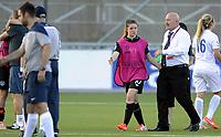 Fotball<br /> UEFA European Women's Under-19 Championships<br /> Group B<br /> Mjøndalen 18.07.2014<br /> Irland v England 2:1<br /> Foto: Morten Olsen, Digitalsport<br /> <br /> Post match celebration Ireland<br /> Clarie Shine (10)<br /> Head coach David Connell