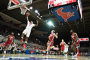 DALLAS, TX - DECEMBER 16: Sterling Brown #3 of the SMU Mustangs dunks the ball against the Nicholls State Colonels on December 16, 2015 at Moody Coliseum in Dallas, Texas.  (Photo by Cooper Neill/Getty Images) *** Local Caption *** Sterling Brown
