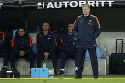 (L-R) goalkeeper trainer Patrick Lodewijks of Holland, assistant trainer Kees van Wonderen of Holland, assistant trainer Dwight Lodeweges of Holland, coach Ronald Koeman of Holland during the International friendly match match between Portugal and The Netherlands at Stade de Genève on March 26, 2018 in Geneva, Switzerland
