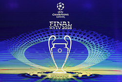 December 12, 2017 - Kiev, Ukraine - The logo of the 2018 Champions League final soccer match is pictured during presentation in Kiev, Ukraine, 12 December, 2017.  The UEFA Champions League final will be played at the Olimpiyskiy stadium on 26 May 2018 in Kiev. (Credit Image: © Str/NurPhoto via ZUMA Press)