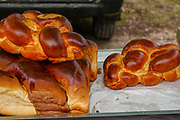 Freshly baked Challah Sweet white bread traditionally eaten by Jews on Sabbath