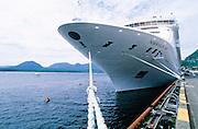 Alaska. Ketchikan.Norwegian,  Cruise ship at dock with kayakers.