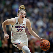 UNCASVILLE, CONNECTICUT- DECEMBER 19:  Katie Lou Samuelson #33 of the Connecticut Huskies in action during the Naismith Basketball Hall of Fame Holiday Showcase game between the UConn Huskies Vs Oklahoma Sooners, NCAA Women's Basketball game at the Mohegan Sun Arena, Uncasville, Connecticut. December 19, 2017 (Photo by Tim Clayton/Corbis via Getty Images)
