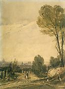 Pere Lachaise Cemetery, Paris', 1825. Watercolour by Richard Parkes Bonington (1892-1828) English Romantic painter.