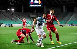 Damjan Bohar of Slovenia vs Sergiu Platica of Moldova during the UEFA Nations League C Group 3 match between Slovenia and Moldova at Stadion Stozice, on September 6th, 2020. Photo by Vid Ponikvar / Sportida