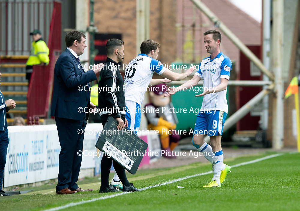 Motherwell v St Johnstone…05.05.18…  Fir Park    SPFL<br />Steven MacLean is subbed by David McMillan during his final appearance for saints<br />Picture by Graeme Hart. <br />Copyright Perthshire Picture Agency<br />Tel: 01738 623350  Mobile: 07990 594431
