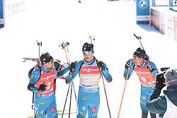 14.02.2021, Center Pokljuka, Pokljuka, SLO, IBU Weltmeisterschaften Biathlon, Sprint, Herren, im Bild desthieux (simon) (fra), jacquelin (emilien) (fra), fillon maillet (quentin) (fra) // during mens Sprint competition of IBU Biathlon World Championships at the Center Pokljuka in Pokljuka, Slovenia on 2021/02/14. EXPA Pictures © 2021, PhotoCredit: EXPA/ Pressesports/ Frederic Mons<br /> <br /> *****ATTENTION - for AUT, SLO, CRO, SRB, BIH, MAZ, POL only*****