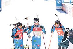 14.02.2021, Center Pokljuka, Pokljuka, SLO, IBU Weltmeisterschaften Biathlon, Sprint, Herren, im Bild desthieux (simon) (fra), jacquelin (emilien) (fra), fillon maillet (quentin) (fra) // during mens Sprint competition of IBU Biathlon World Championships at the Center Pokljuka in Pokljuka, Slovenia on 2021/02/14. EXPA Pictures © 2021, PhotoCredit: EXPA/ Pressesports/ Frederic Mons<br /> <br /> *****ATTENTION - for AUT, SLO, CRO, SRB, BIH, MAZ, POL only*****