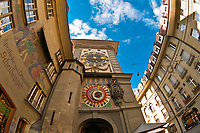 Astronomical clock built between 1527 and 1530 by Caspar Brunner, The Clock Tower (Zytglogge), Bern, Canton Bern, Switzerland