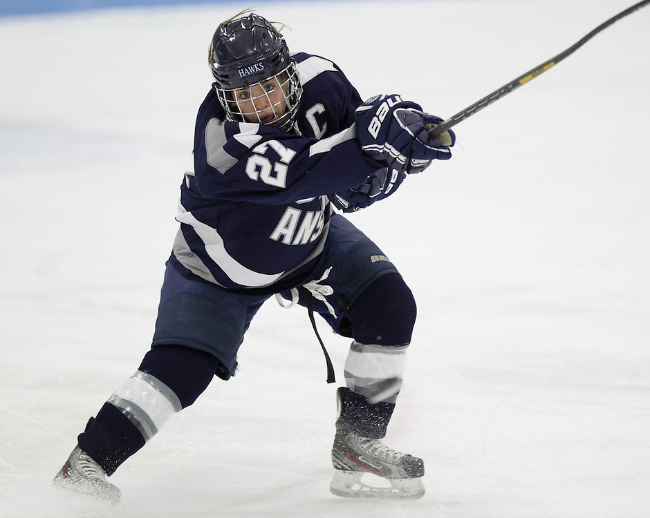 Tiffany Herron, of Saint Anselm College, in a NCAA Division III hockey game against Colby College on December 5, 2014 in Waterville, ME. (Dustin Satloff/Colby College Athletics)