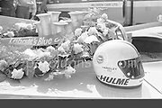 Helmet and garland of winner Denny Hulme on his McLaren M20 after the 1972 Mosport Can-Am