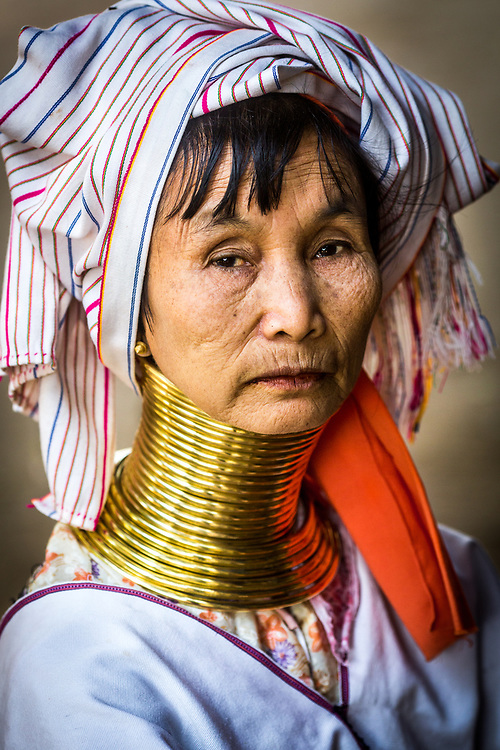 Portrait of a Padaung Woman<br /> This etnic group commonly known as the Giraffe Women, are recognised by their brass neck coils.