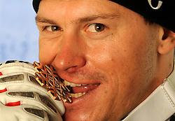 09.02.2011, Kandahar, Garmisch Partenkirchen, GER, FIS Alpin Ski WM 2011, GAP, Herren Super G, Medals Presentation, im Bild bronze Medaillen Gewinner Ivica Kostelic (CRO) mit Bronzemedaille // bronze Medal Ivica Kostelic (CRO) with Bronze Medal during Men Super G, Fis Alpine Ski World Championships in Garmisch Partenkirchen, Germany on 9/2/2011 ++++ ATTENTION STRICTLY EMBARGO:  today, 6.30 p.m +++++, PhotoCredit: EXPA/ E. Spiess