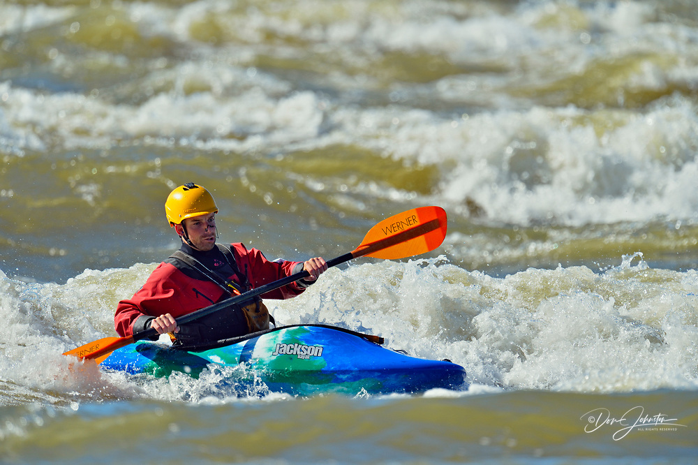 Paddlers negotiating Class 2 Rapids in the the Slave River (Mountain Rapids), Fort Smith, Northwest Territries, Canada