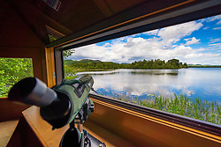 Osprey birdwatching hide at Scottish Wildlife Trust visitor centre at Loch of the Lowes, new Dunkeld in Perthshire, Scotland, UK