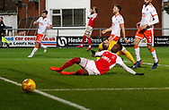 Blackpool's Ryan Allsop watches as Devante Cole of Fleetwood Town fails to convert a cross during the EFL Sky Bet League 1 match between Fleetwood Town and Blackpool at the Highbury Stadium, Fleetwood, England on 25 November 2017. Photo by Paul Thompson.