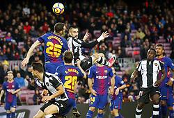January 7, 2018 - Barcelona, Catalonia, Spain - Erick Cabaco and Thomas Vermaelen during the La Liga match between FC Barcelona and Levante UD, in Barcelona, on January 07, 2018. (Credit Image: © Joan Valls/NurPhoto via ZUMA Press)
