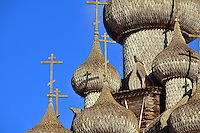 The Transfiguration Church on Kizhi Island, in Russia's Lake Onega, a timbered marvel with 22 onion domes built without a single nail. Over the years a number of other traditional wooden structures have been moved from Karelia to preserve them, and the island is now a UNESCO World Heritage site.