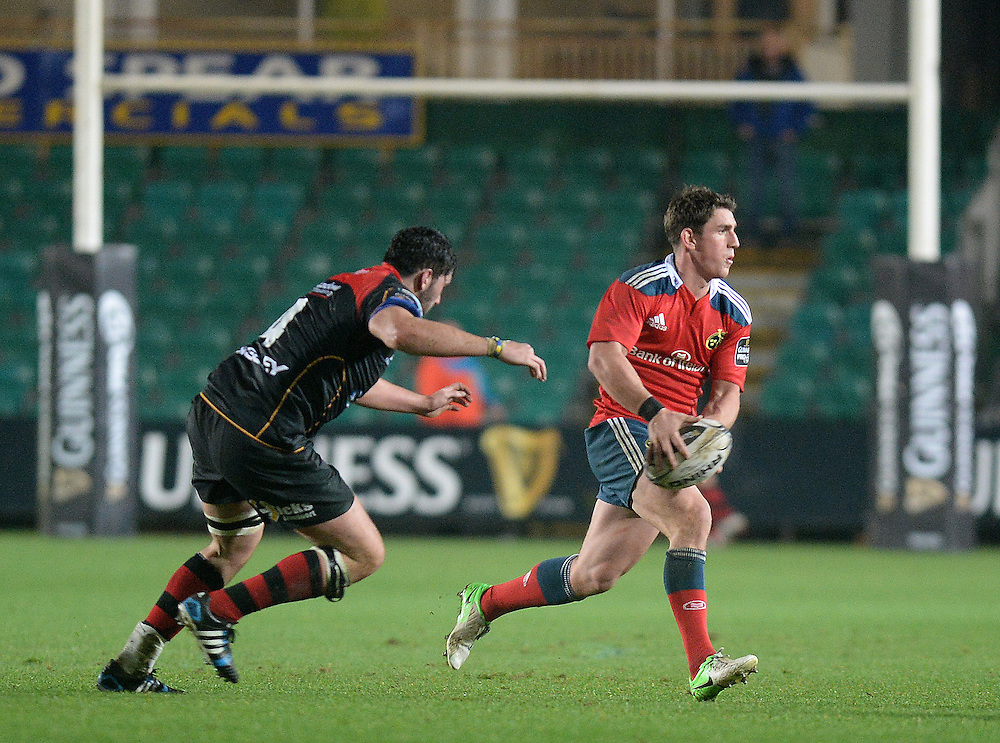 Munster's Ian Keatley in action during today's match <br /> <br /> Photographer Ashley Crowden/CameraSport<br /> <br /> Rugby Union - Guinness PRO12 - Newport Gwent Dragons v Munster - Friday 21st November 2014 - Rodney Parade - Newport<br /> <br /> © CameraSport - 43 Linden Ave. Countesthorpe. Leicester. England. LE8 5PG - Tel: +44 (0) 116 277 4147 - admin@camerasport.com - www.camerasport.com