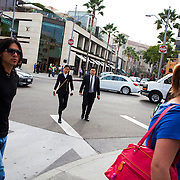 Pedestrian and visitors to Rodeo Drive in Beverly Hills, CA.