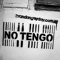"""Translation: """"I DO NOT HAVE """"<br /> <br /> Buenos Aires, Argentina March 2006<br /> Protest, resistance and memory:  The Stencil images in Buenos Aires. <br /> The stencil art takes the streets of the Argentinian capital. Urban artists bomb in silence the city with messages that combine political and social content, imagination and irony.<br /> Photo: Ezequiel Scagnetti"""