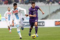 """Stevan Jovetic Fiorentina Miguel Angel Britos Napoli.Firenze 20/01/2013 Stadio """"Franchi"""".Football Calcio Serie A 2012/13.Fiorentina v Napoli.Foto Insidefoto Paolo Nucci."""