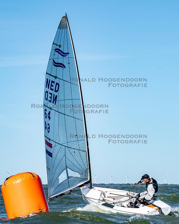 Wietze Zetzema in action by the Open Dutch Sailing Championships on September 18, 2020 in Medemblik, Netherlands